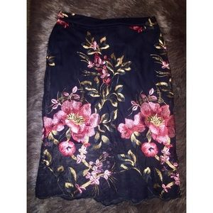 Dresses & Skirts - Floral embroidered mesh midi skirt
